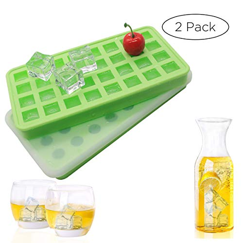 (( Set of 2 with lids) Silicone 20 cavities Ice Ball Ice cube mold DIY Silicone Ice Cube Sphere Tray Mold Mould Round Maker Pudding Jelly Bar Home (Purple) )