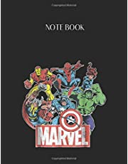 Notebook: Marvel Avengers Team Retro Comic Vintage Graphic Lined Pages Notebook Large Size 8.5in x 11in x 109 pages White Paper Blank Journal with Black Cover for Kids or Men and Women Classroom