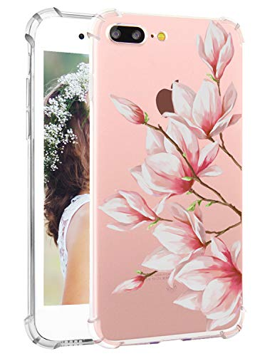 Hepix Floral iPhone 7 Plus Case iPhone 8 Plus Clear Case Women Girly Vintage Floral Pattern Magnolia Protective TPU Bumper Shockproof Back Cover Case for Apple iPhone 7 Plus iPhone 8 Plus [5.5 inch]