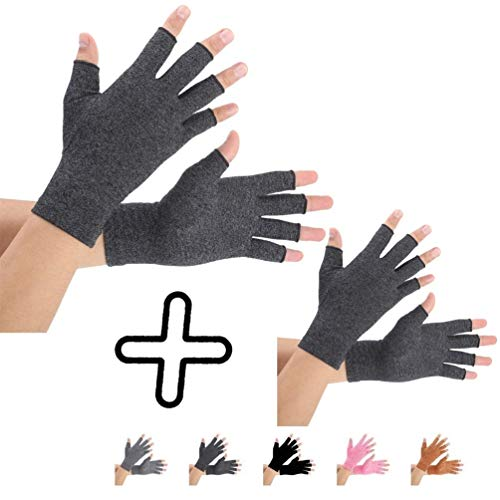 Arthritis Gloves 2 Pairs, Compression Gloves Support and Warmth for Hands, Finger Joint, Relieve Pain from Rheumatoid, Osteoarthritis, RSI, Carpal Tunnel, Tendonitis, Women and Men (Black, - Compression Arthritis Gloves