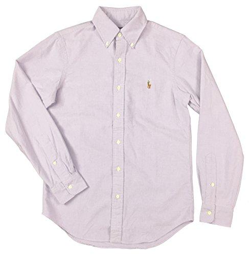 Polo Ralph Lauren Mens Standard Fit Solid Oxford Shirt  Violet  L