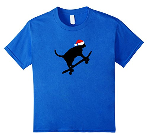 Kids Black Cat Skateboard T-Shirt Christmas Santa Hat For Riders 8 Royal Blue