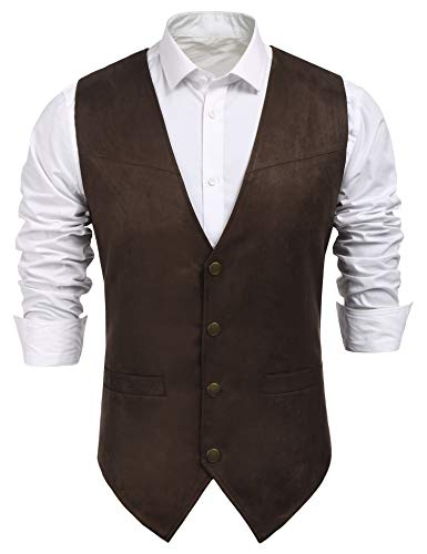 COOFANDY Men's Suede Leather Suit Vest Casual Western Vest Jacket Slim Fit Vest Waistcoat (XX-Large, Coffe)