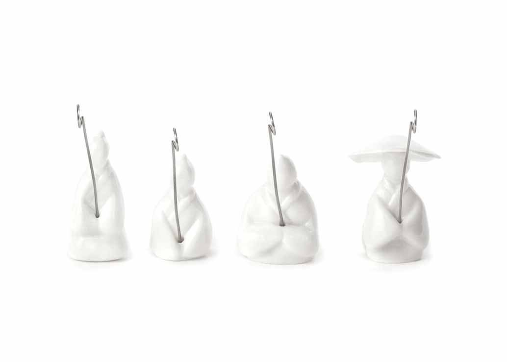 Kikkerland Jiang Taigong Tea Bag Holder (Set of 4), White CU127