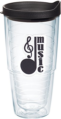 - Tervis 1220323 Music Note - Clef Tumbler with Emblem and Black Lid 24oz, Clear