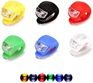 QUMENEY 6PCS Silicone Housing Bike Lights Set, Waterproof LED Clip-On Bicycle Lights, Bicycle Lights Front and