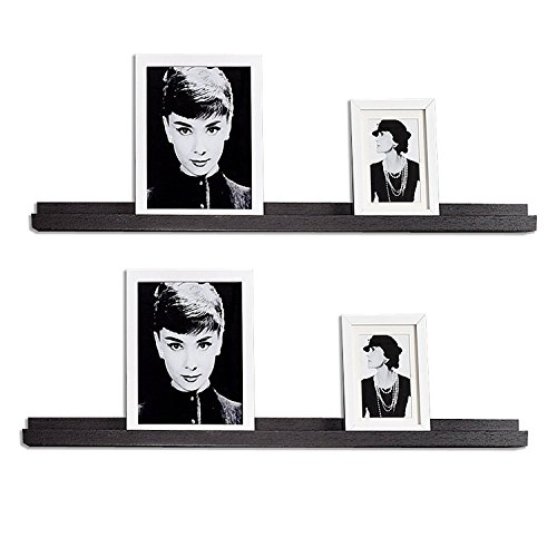 WELLAND Vista Picture Ledge Floating Ledge Wall Shelves, 36-inch, Set of 2, Espresso