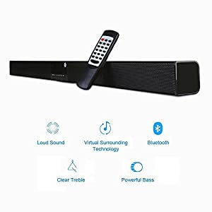 Soundbar for TV 40W (RMS), TRANSPEED 5EQ Mode Home Theater Speaker,2.0 Channel Bluetooth Sound Bar , Strong Bass, Al Metal Enclosed with Remote for TV/echo/phones/tablet/USB/SD Card playing, Mountable