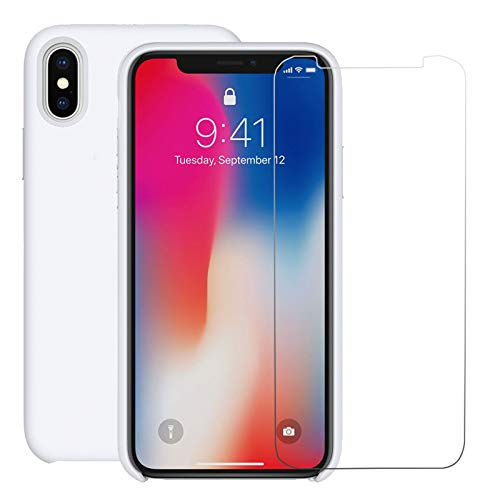 iPhone Xs Silicone Case with Free Tempered Glass Screen Protector for Apple iPhone Xs 5.8