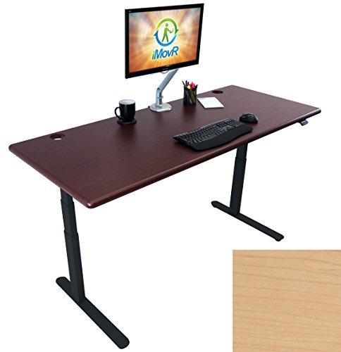Lander Electric Adjustable Height Sit Stand Desk, Black Base (Light Maple Top, 30
