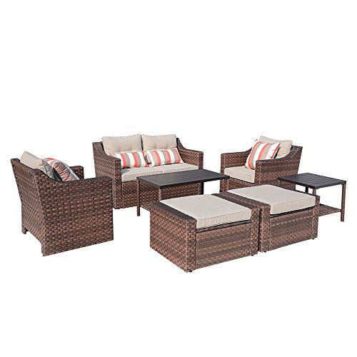 (SUNSITT Outdoor Furniture Set 7-Piece Patio Wicker Sofa Loveseat Lounge Chairs & Ottoman with Aluminum Slat Coffee Side Table, Brown Wicker & Beige Olefin Fiber)