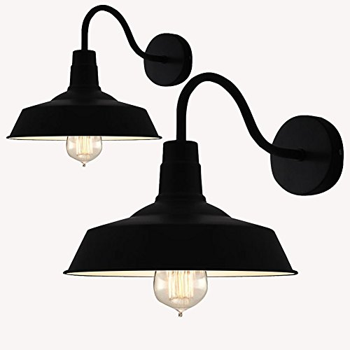 (Dome Barn Wall Sconce, Motent 2pcs Industrial Vintage Retro Black Metal Gooseneck Wall Lamp Shade Antique Iron Wrought 1-light Wall Mounted Lighting Fixture for Corridor Balcony Porch - 9.8 inches Dia)