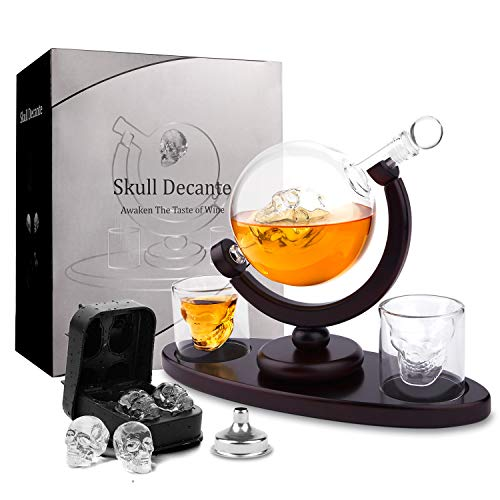 d3c63af023c Skull Whiskey Decanter with Ice Cube Trays 2 Etched Globe Glasses Pour  Funnel Liquor Dispenser for Liquor, Scotch, Bourbon, Vodka - Perfect  Present ...