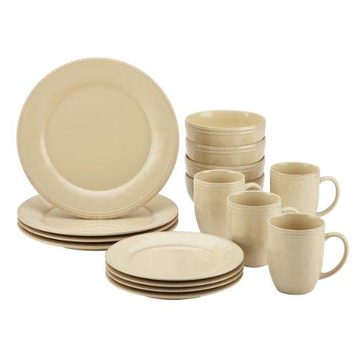 Rachael Ray Cucina Dinnerware 16-Piece Stoneware Dinnerware Set, Almond Cream (Rustic Stoneware Dinnerware Sets)