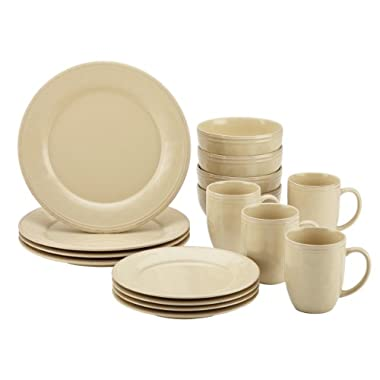Rachael Ray Cucina 16-Piece Stoneware Dinnerware Set, Almond Cream