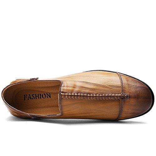 Lakerom Hombres Mocasines De Cuero Zapatos Hombres Slip On Zapatos Casual Zapatos De Cuero Brown13