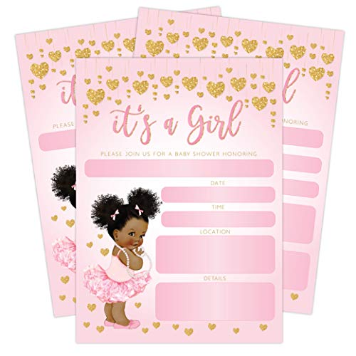 It's a Girl Pink and Gold Hearts Baby Shower Invitation, African American Baby Ballerina Princess, 20 Invitations with envelopes