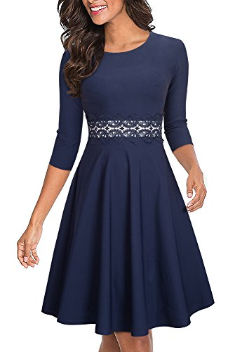 HOMEYEE Women's Sleeveless Cocktail A-Line Embroidery Party Summer Wedding Guest Dress A079 (12, Dark Blue + 3/4 Sleeve) -