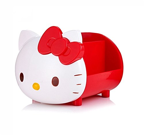 (TOSPANIA Desk Supplies Organizer Multi-Functional Durable Container Hello Kitty Style Holder for Office Accessories Pencils Colored Pens Glasses Nail Polish etc.)