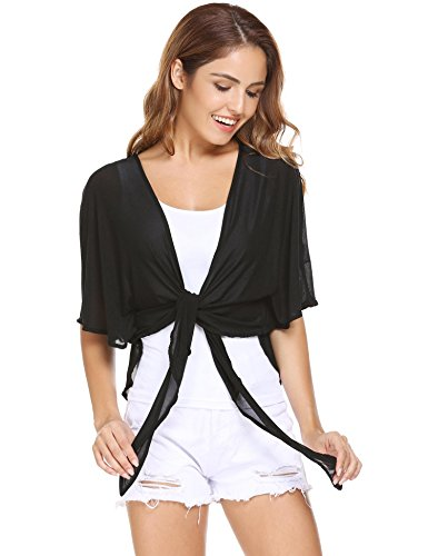 Tie Front Sheer (Zeagoo Womens Casual Batwing Sleeve Open Front Tie Short Cardigan Black XXL)