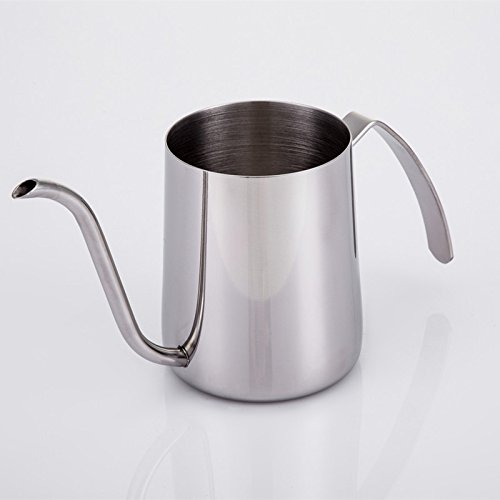 - Gooseneck Hand Punch Coffee Pot 350cc Stainless Steel Teapot Drip Brew Coffee Pot Cup Home Kitchen Office Drinkware Coffeeware Color Silver