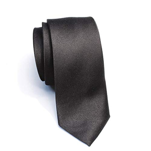 (New Skinny Solid Black 2 Inch Necktie)