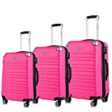 Cheap Expandable Luggage Set, TSA Lightweight Spinner Luggage Sets, Carry On Luggage 3 Piece Set Free Gift Inside (Hot Pink, 3-Piece)