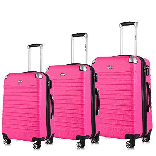 Expandable Luggage Set, TSA Lightweight Spinner Luggage Sets, Carry On Luggage 3 Piece Set (Pink, 3 pcs ()