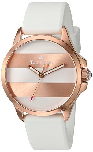 Juicy Couture Women's Jetsetter Quartz Gold and Silicone Quartz Watch, Color:White (Model: 1901346) ()