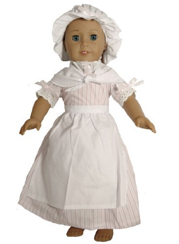 BUYS BY BELLA Colonial Pink Striped Dress for 18 Inch Dolls Like American Girl (For Dresses Girls Pink Colonial)