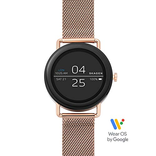 Skagen Connected Falster 1 Stainless Steel Mesh Touchscreen Smartwatch, Color: Rose Gold-Tone (Model: SKT5002)
