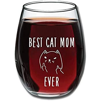 best cat mom ever funny wine glass 15oz unique christmas gift idea for cat lovers