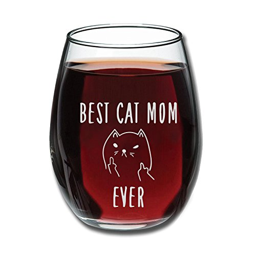 (Best Cat Mom Ever Funny Wine Glass 15oz - Unique Christmas Gift Idea for Cat Lovers - Perfect Birthday Gifts for Women - Rude Sarcastic Cat Meme Cup - Evening)