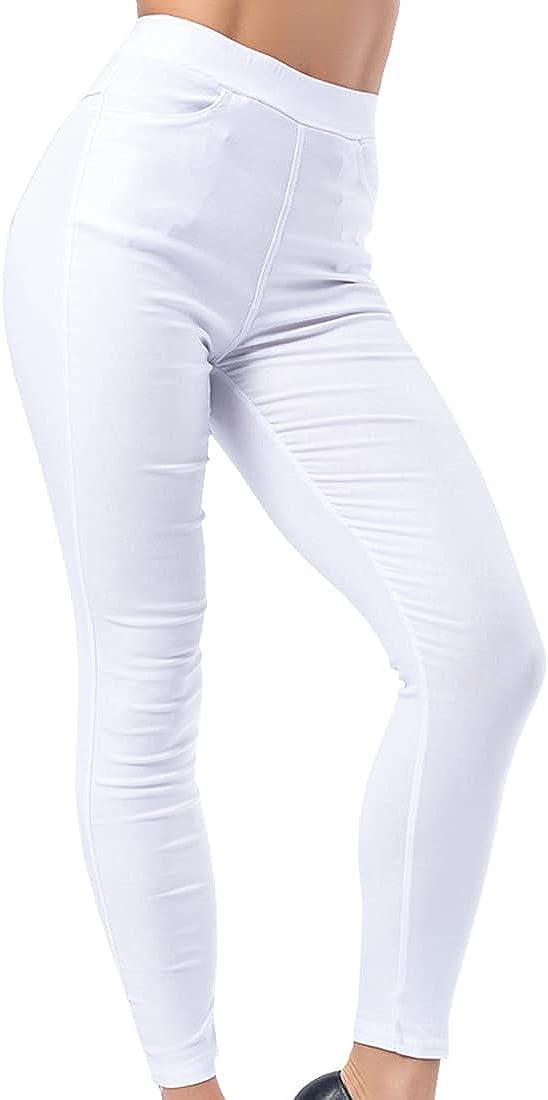 Leggings de Cintura Alta, Mallas para Correr con Bolsillos, Pantalones de Yoga Power Stretch de Moda Deportiva Ajustadas adelgazantes Delgados Cortos elásticos para Levantar la Cadera para Mujer