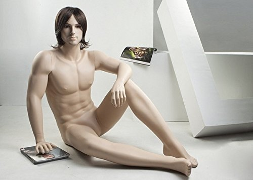 Brand New Attractive Sitting Male Full Body Fiberglass Realistic Mannequin Flesh Tone (NTM1) by Only Mannequins®