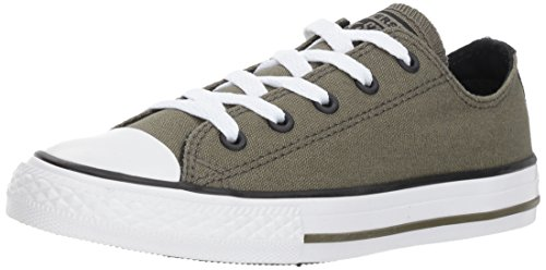 Converse Girls' Chuck Taylor All Star 2018 Seasonal Low Top Sneaker, Hunter Green/White, 5 M US Big Kid -