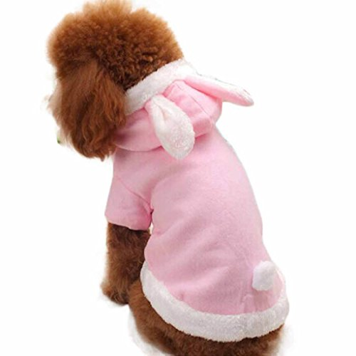 Mikey Store Pet Puppy Dog Cat Clothes Cute Rabbit Plush Dog Apparel Pet Hoodie Costume Clothes (Pink, L) ()