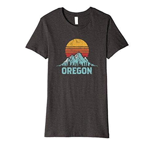 Womens Vintage Oregon Retro Distressed Mountains Ski Tee Large Dark Heather
