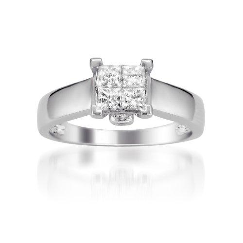 14k White Gold Princess-cut & Round Invisible-Set Diamond Bridal Engagement Ring (1/2 cttw, I-J, I2-I3), Size 6 (Invisible Set Diamond Bridal)