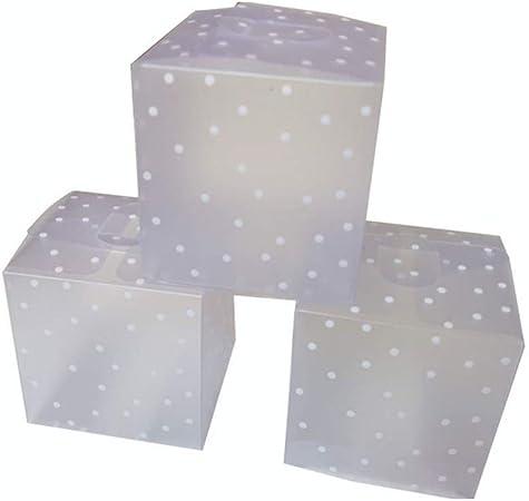 DIYARTS 50PCS Cubo Caja Dulces Cuadrada Translúcida PVC Punto Transparente para Chocolate Paquete Regalo Pequeño Cajas Favor Boda (6 * 6 * 6cm): Amazon.es: Hogar