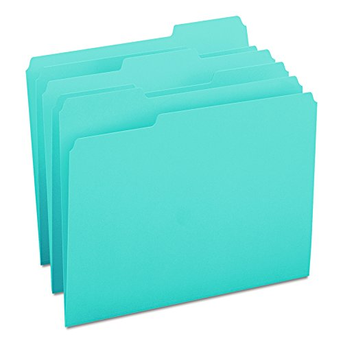 (Smead File Folder, 1/3-Cut Tab, Letter Size, Teal, 100 per Box (13143))