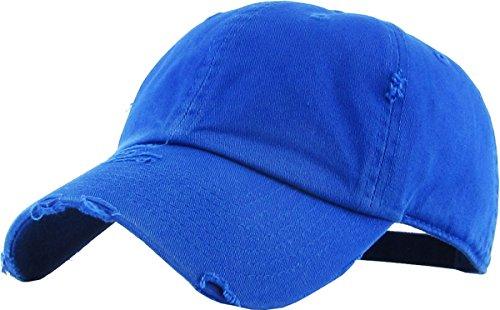 KBETHOS Vintage Washed Distressed Cotton Dad Hat Baseball Cap Adjustable Polo Trucker Unisex Style Headwear (Vintage) Royal ()