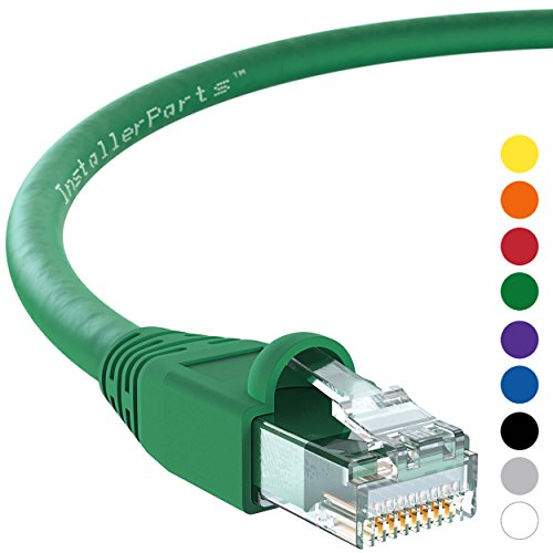 InstallerParts Ethernet Cable CAT6A Cable UTP Booted 4 FT - Green - Professional Series - 10Gigabit/Sec Network/High Speed Internet Cable, 550MHZ