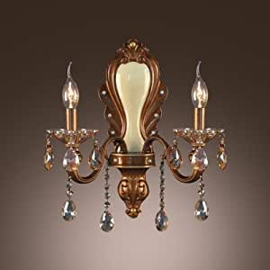 QIANG Gold Finish and Crystal Drops Add glamour to Exquisite Two Light Wall Sconce