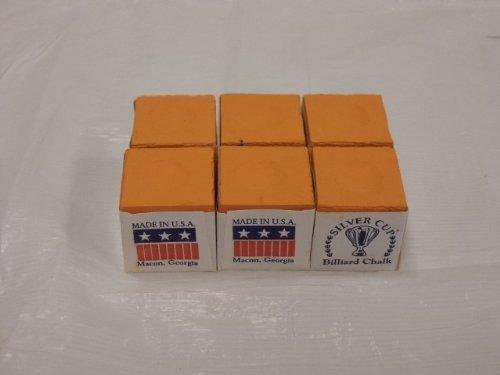 Silver Cup Half Dozen Orange Pool Cue Chalk