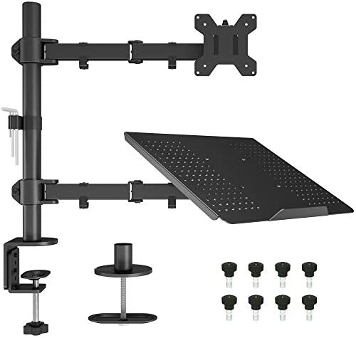 BONTEC Monitor Arm Mount with Laptop Tray for 13 to 27 inch LCD LED Screen & up to 15.6 inch Notebook,Tilt Rotation Swivel Ergonomic Desk Stand Bracket with Clamp, VESA Dimensions: 75×75-100x100mm