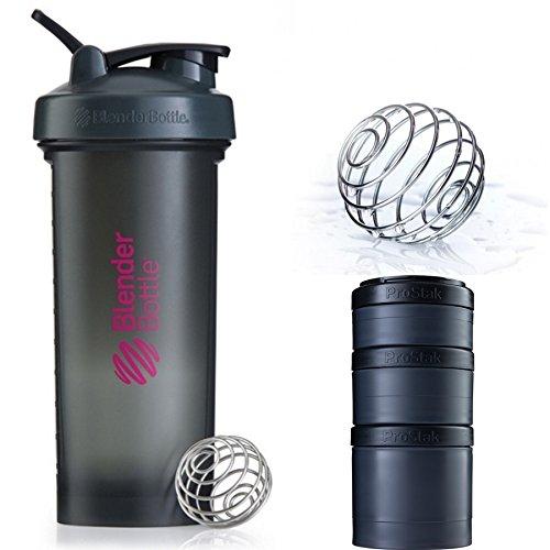 Blender Bottle Pro45 & ProStak Expansin 3Pak (Gray Pink : Full Black)
