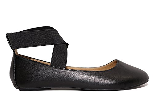 Charles Albert Dana Women's Classic Ballerina Flats with Elastic Crossing Straps (8, Black)