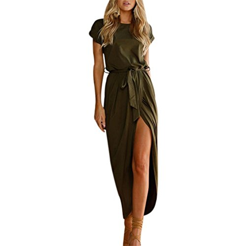 Price comparison product image Women Dress, Haoricu Women Summer Elegant Long Maxi Waistband Evening Party Beach Dresses (L,  Army Green)