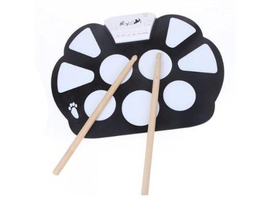 Tragbare elektronische Roll up Drum Pad Kit (Faltbare mit zwei Sticks und Fußpedal) EXP
